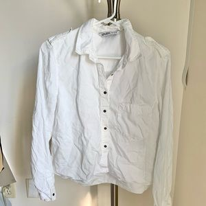 Zara Cropped Button Up Shirt